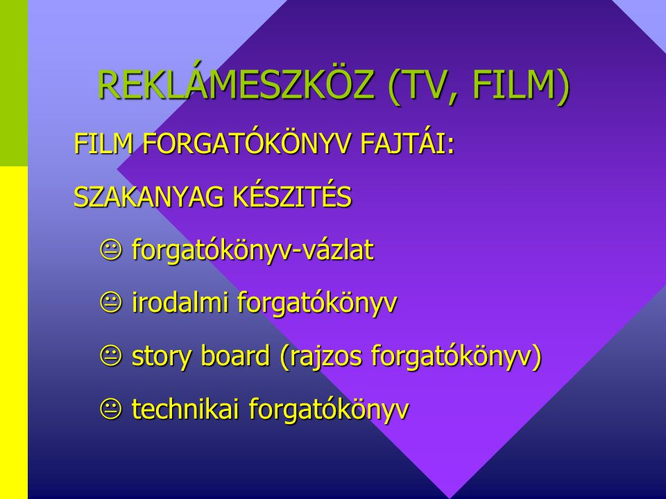 REKLÁMESZKÖZ (TV, FILM)