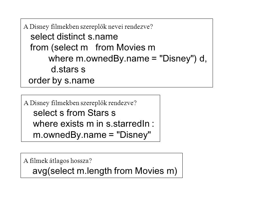 from (select m from Movies m where m.ownedBy.name = Disney ) d,