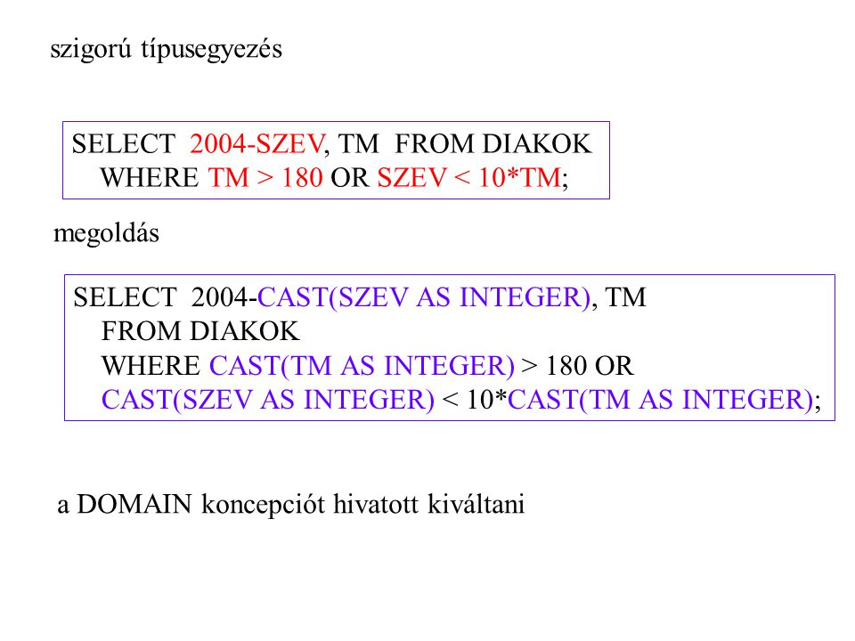 szigorú típusegyezés SELECT 2004-SZEV, TM FROM DIAKOK. WHERE TM > 180 OR SZEV < 10*TM; megoldás.