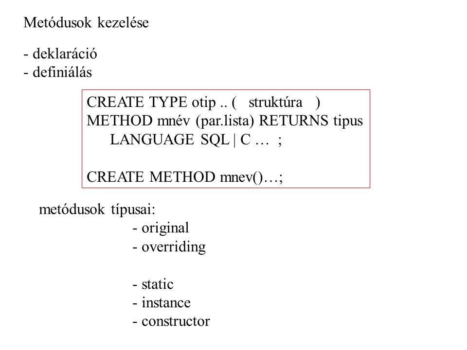 Metódusok kezelése - deklaráció. - definiálás. CREATE TYPE otip .. ( struktúra ) METHOD mnév (par.lista) RETURNS tipus.