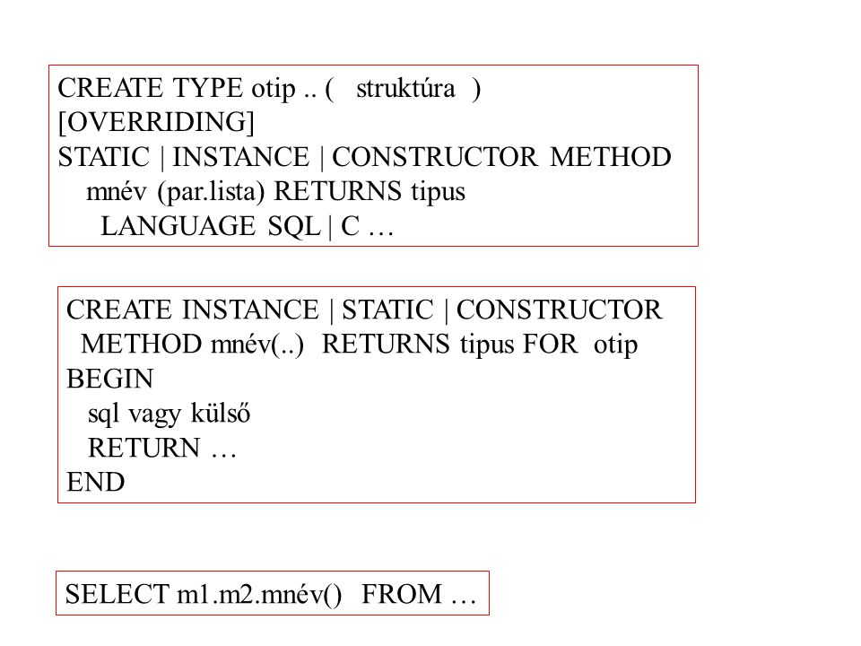 CREATE TYPE otip .. ( struktúra )