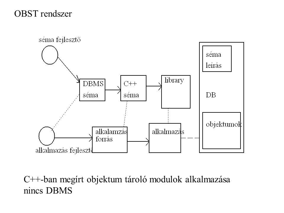 OBST rendszer C++-ban megírt objektum tároló modulok alkalmazása nincs DBMS