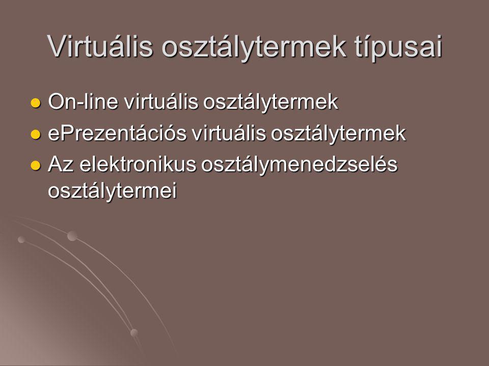 Virtuális osztálytermek típusai