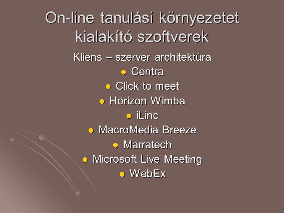 On-line tanulási környezetet kialakító szoftverek