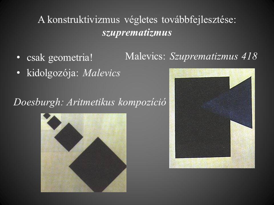 A konstruktivizmus végletes továbbfejlesztése: szuprematizmus