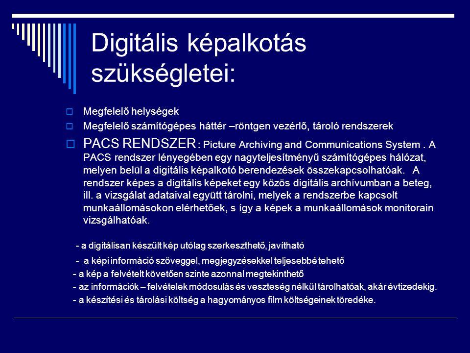 Digitális képalkotás szükségletei: