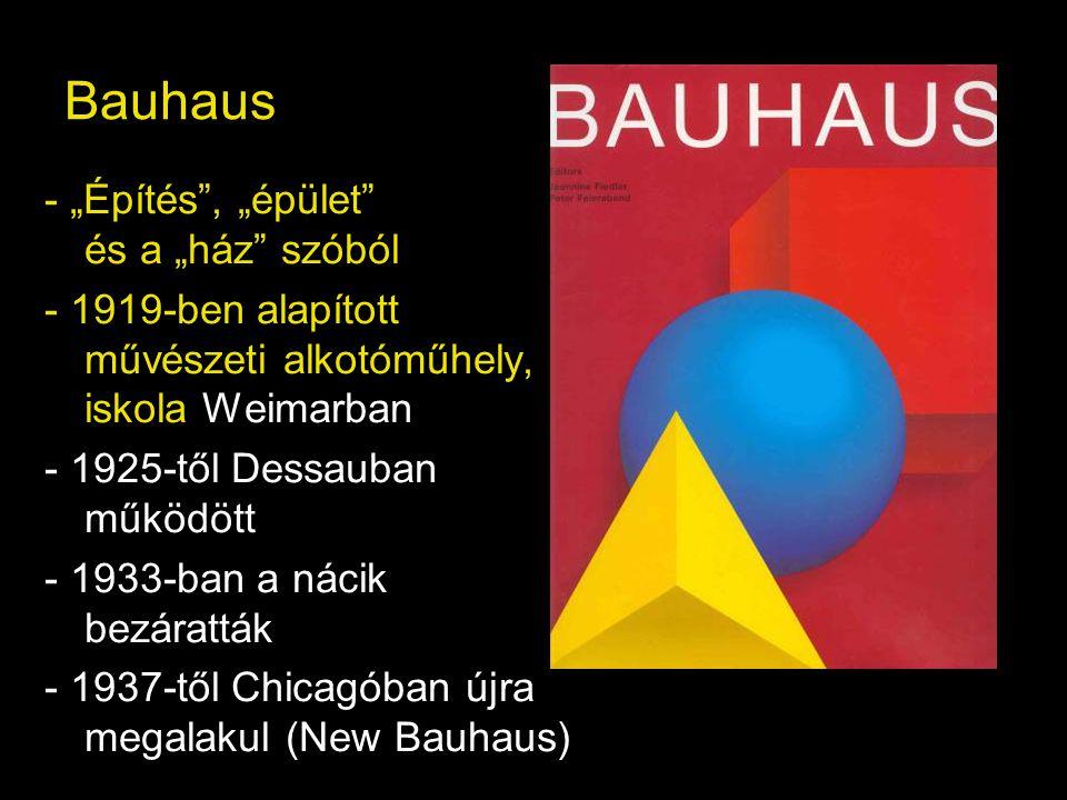 """Bauhaus - """"Építés , """"épület és a """"ház szóból"""