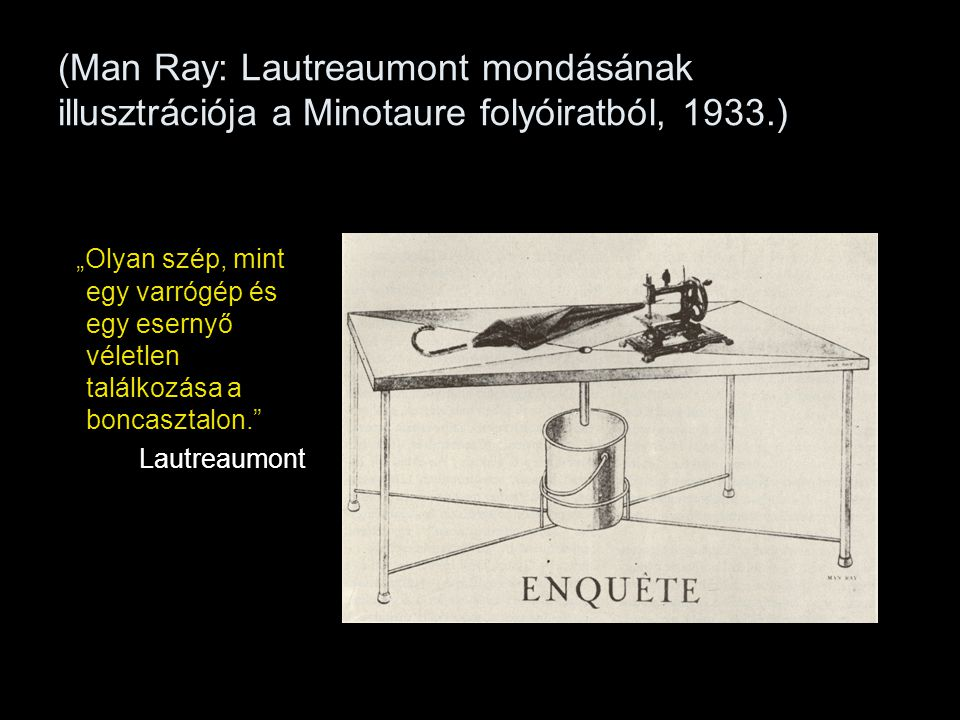 (Man Ray: Lautreaumont mondásának illusztrációja a Minotaure folyóiratból, 1933.)