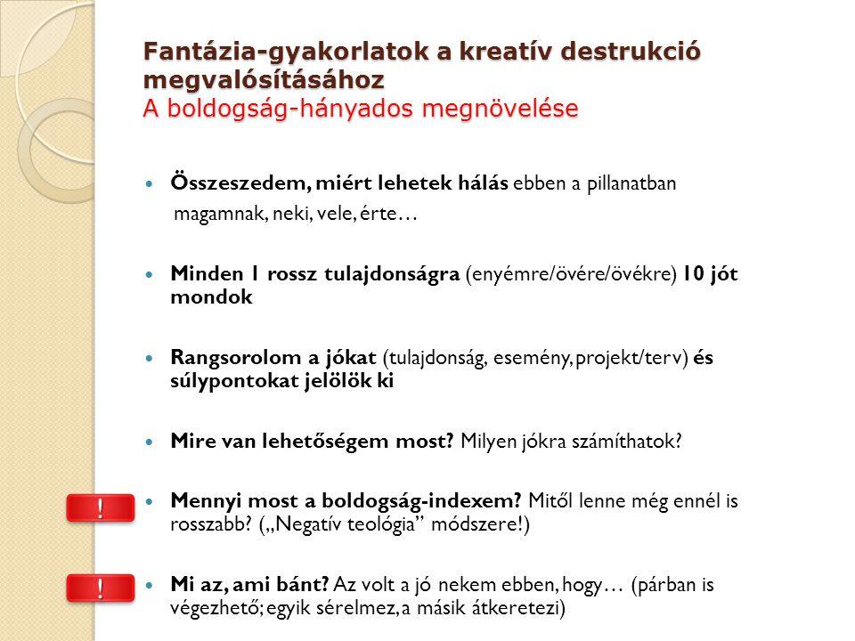 Fantázia-gyakorlatok a kreatív destrukció megvalósításához A boldogság-hányados megnövelése