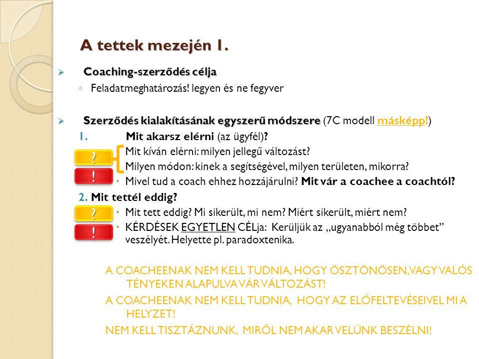 A tettek mezején 1. ! ! Coaching-szerződés célja