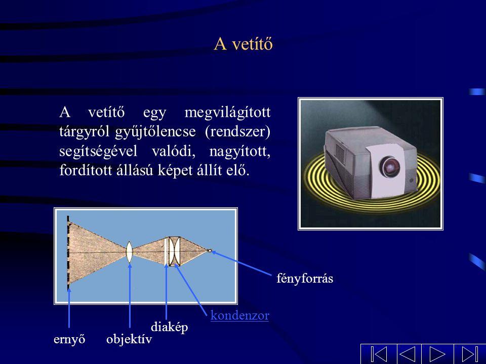 A vetítő A vetítő egy megvilágított tárgyról gyűjtőlencse (rendszer) segítségével valódi, nagyított, fordított állású képet állít elő.
