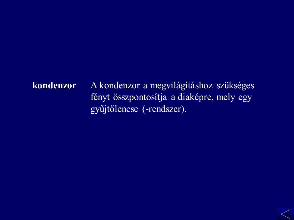 A kondenzor kondenzor A kondenzor a megvilágításhoz szükséges fényt összpontosítja a diaképre, mely egy gyűjtőlencse (-rendszer).