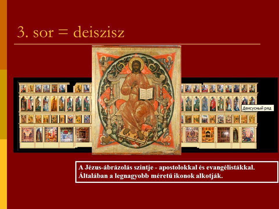 3. sor = deiszisz A Jézus-ábrázolás szintje - apostolokkal és evangélistákkal.