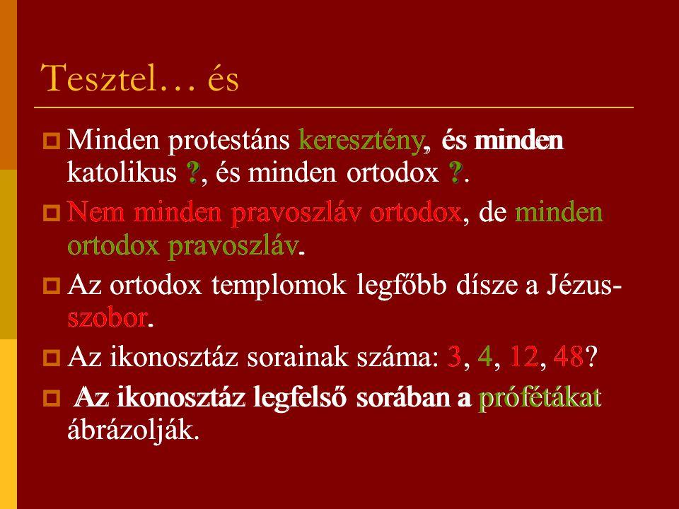 Tesztel… és Minden protestáns keresztény, és minden katolikus , és minden ortodox . Nem minden pravoszláv ortodox, de minden ortodox pravoszláv.