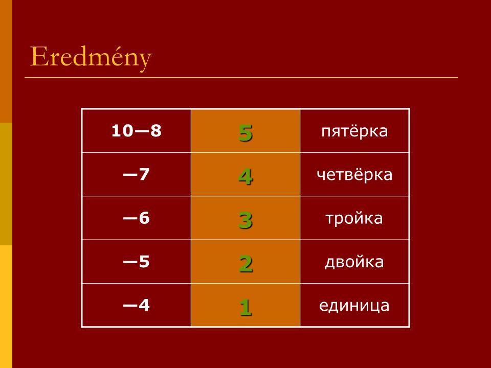Eredmény 5 4 3 2 1 10—8 пятёрка —7 четвёрка —6 тройка —5 двойка —4