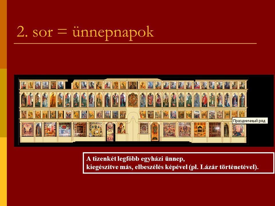 2. sor = ünnepnapok A tizenkét legfőbb egyházi ünnep, kiegészítve más, elbeszélés képével (pl.