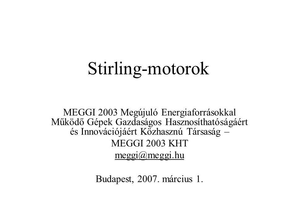 Stirling-motorok MEGGI 2003 Megújuló Energiaforrásokkal Működő Gépek Gazdaságos Hasznosíthatóságáért és Innovációjáért Közhasznú Társaság –