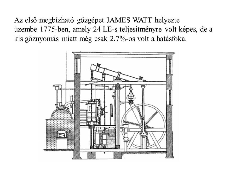 Az első megbízható gőzgépet JAMES WATT helyezte