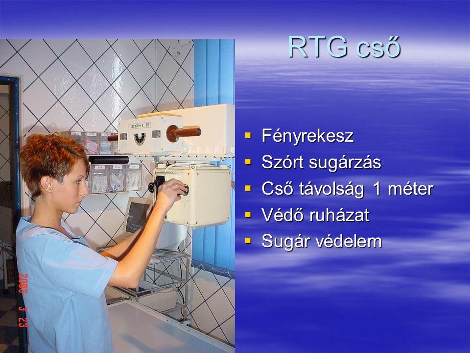 RTG cső Fényrekesz Szórt sugárzás Cső távolság 1 méter Védő ruházat