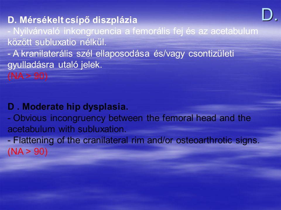 D. D. Mérsékelt csípő diszplázia