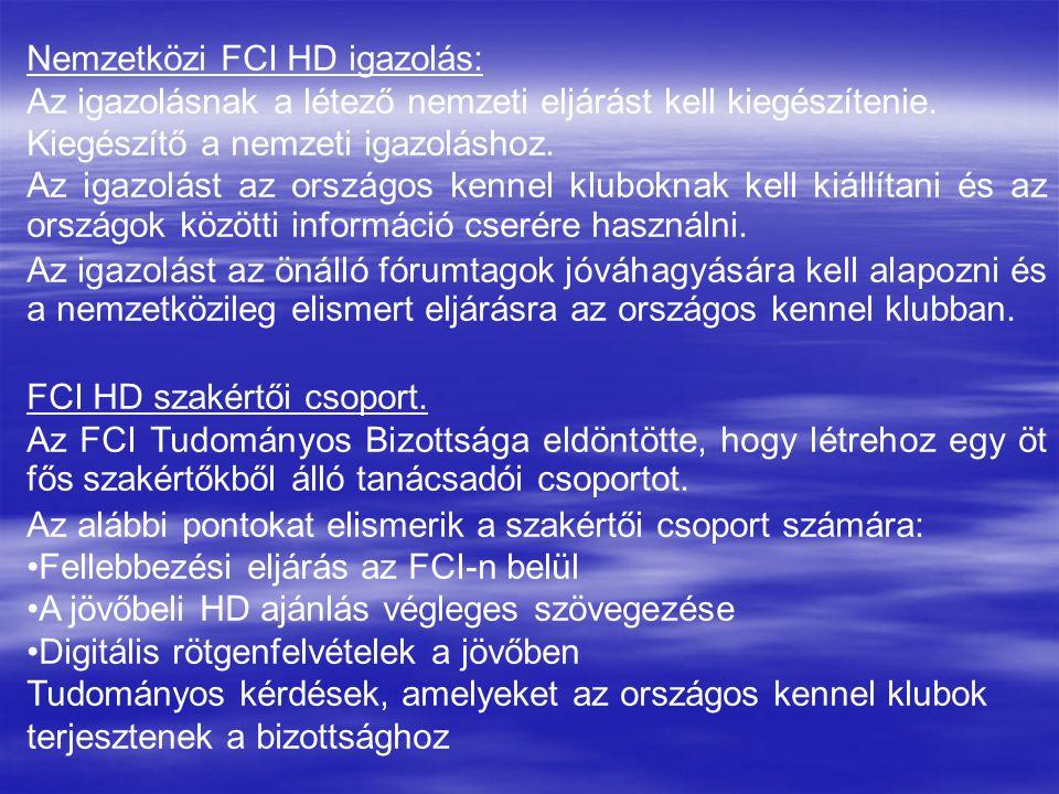 Nemzetközi FCI HD igazolás:
