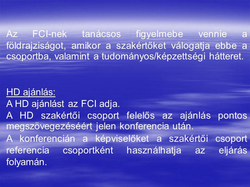 Az FCI-nek tanácsos figyelmebe vennie a földrajziságot, amikor a szakértőket válogatja ebbe a csoportba, valamint a tudományos/képzettségi hátteret.