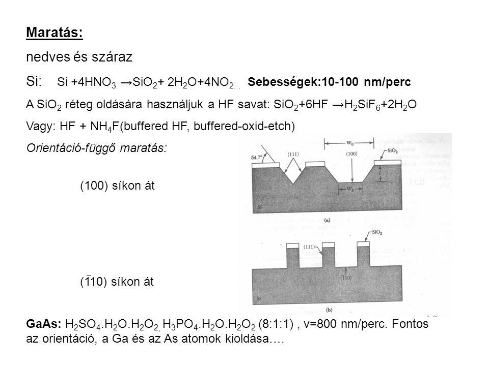 Si: Si +4HNO3 →SiO2+ 2H2O+4NO2. . Sebességek:10-100 nm/perc