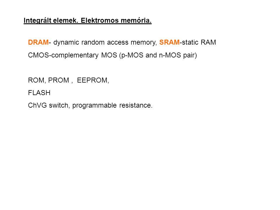 Integrált elemek. Elektromos memória.