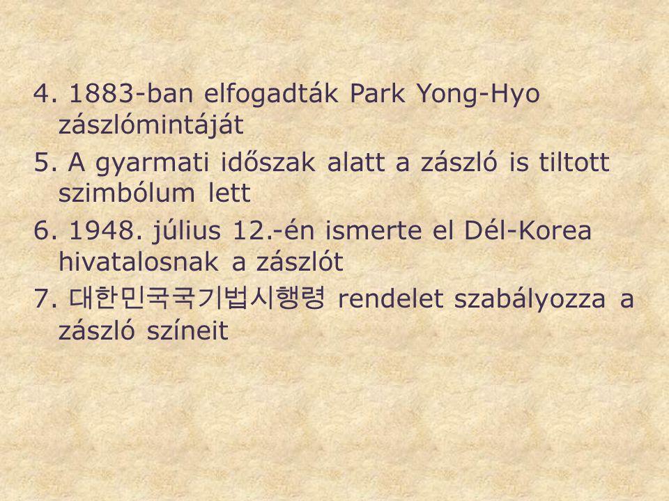 4. 1883-ban elfogadták Park Yong-Hyo zászlómintáját 5