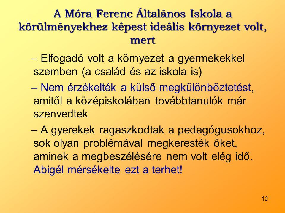 A Móra Ferenc Általános Iskola a körülményekhez képest ideális környezet volt, mert