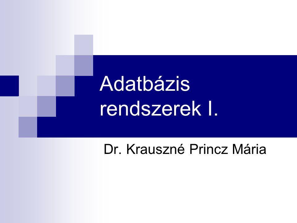 Adatbázis rendszerek I.