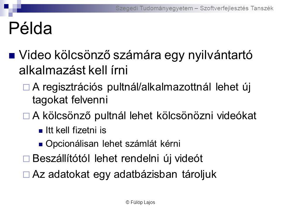Példa Video kölcsönző számára egy nyilvántartó alkalmazást kell írni