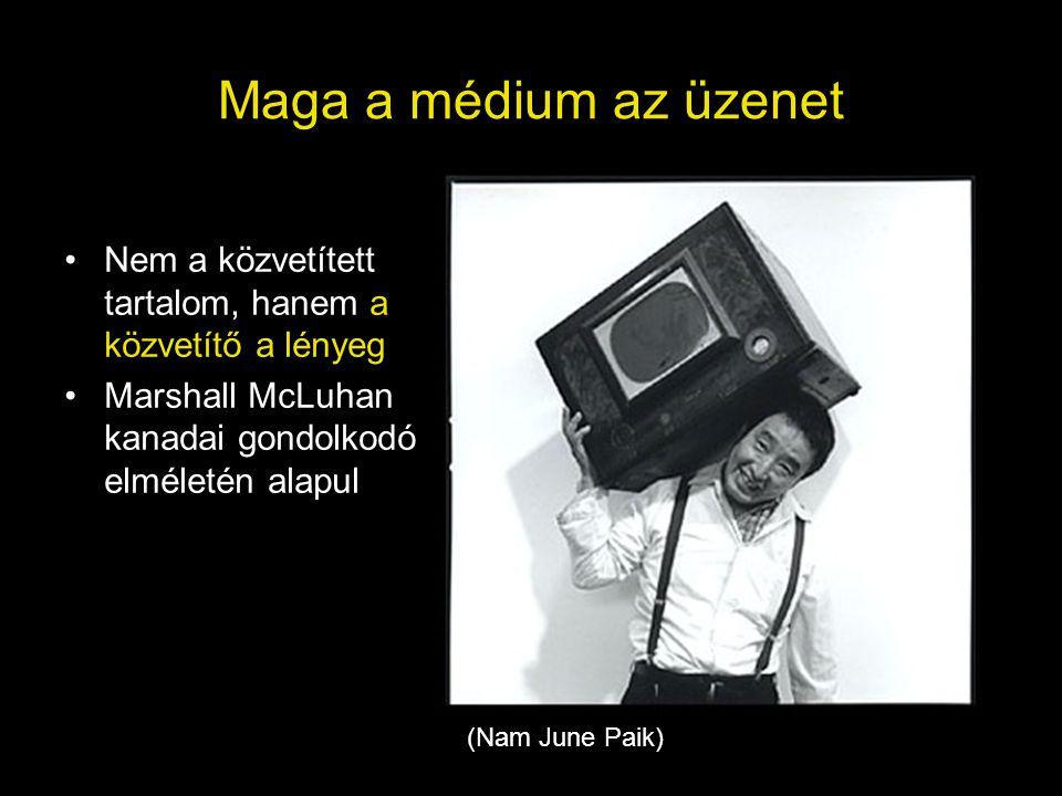 Maga a médium az üzenet Nem a közvetített tartalom, hanem a közvetítő a lényeg. Marshall McLuhan kanadai gondolkodó elméletén alapul.