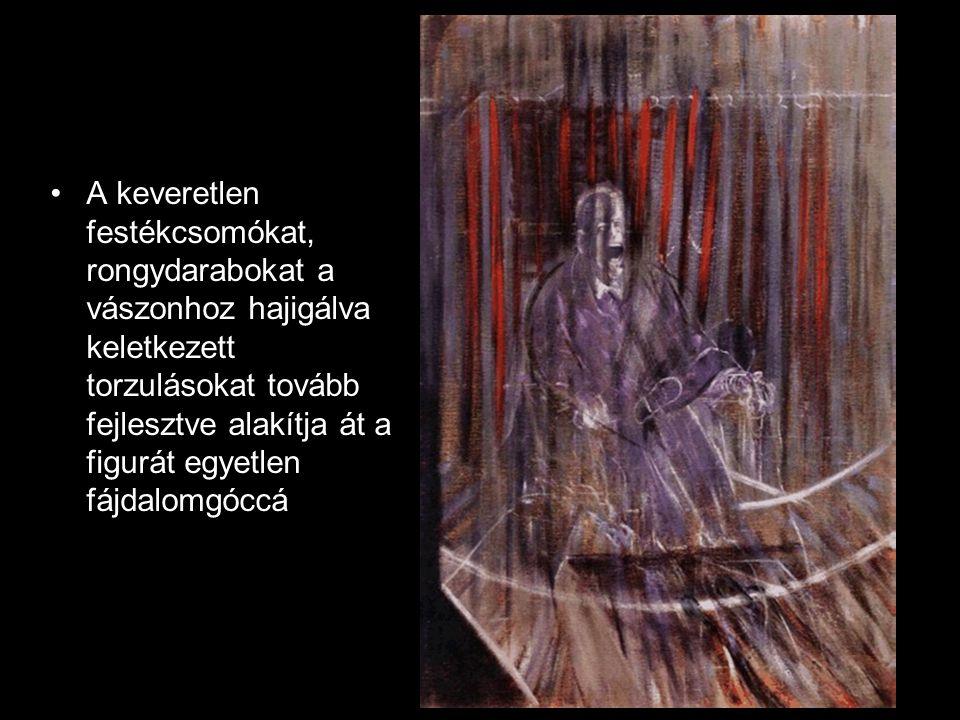 A keveretlen festékcsomókat, rongydarabokat a vászonhoz hajigálva keletkezett torzulásokat tovább fejlesztve alakítja át a figurát egyetlen fájdalomgóccá