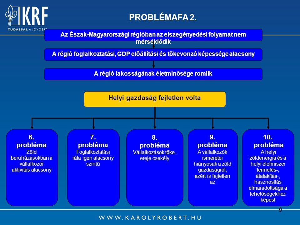PROBLÉMAFA 2. Helyi gazdaság fejletlen volta 6. probléma 7. probléma