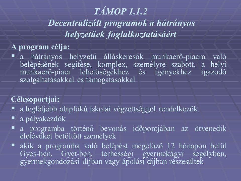 TÁMOP 1.1.2 Decentralizált programok a hátrányos helyzetűek foglalkoztatásáért