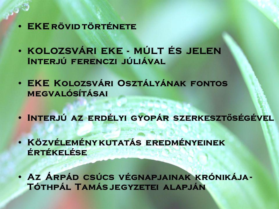EKE rövid története KOLOZSVÁRI EKE - MÚLT ÉS JELEN Interjú ferenczi júliával. EKE Kolozsvári Osztályának fontos megvalósításai.