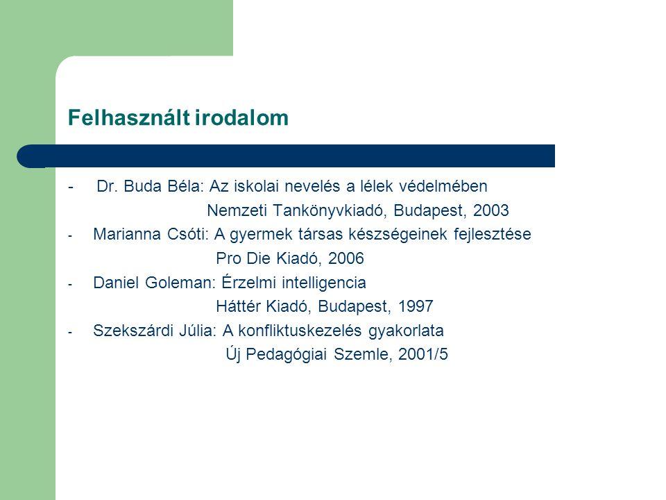 Felhasznált irodalom - Dr. Buda Béla: Az iskolai nevelés a lélek védelmében. Nemzeti Tankönyvkiadó, Budapest, 2003.