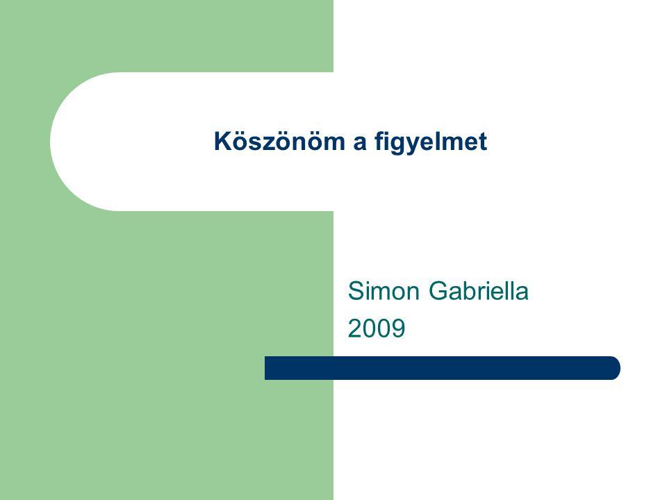 Köszönöm a figyelmet Simon Gabriella 2009