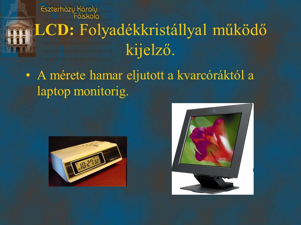 LCD: Folyadékkristállyal működő kijelző.