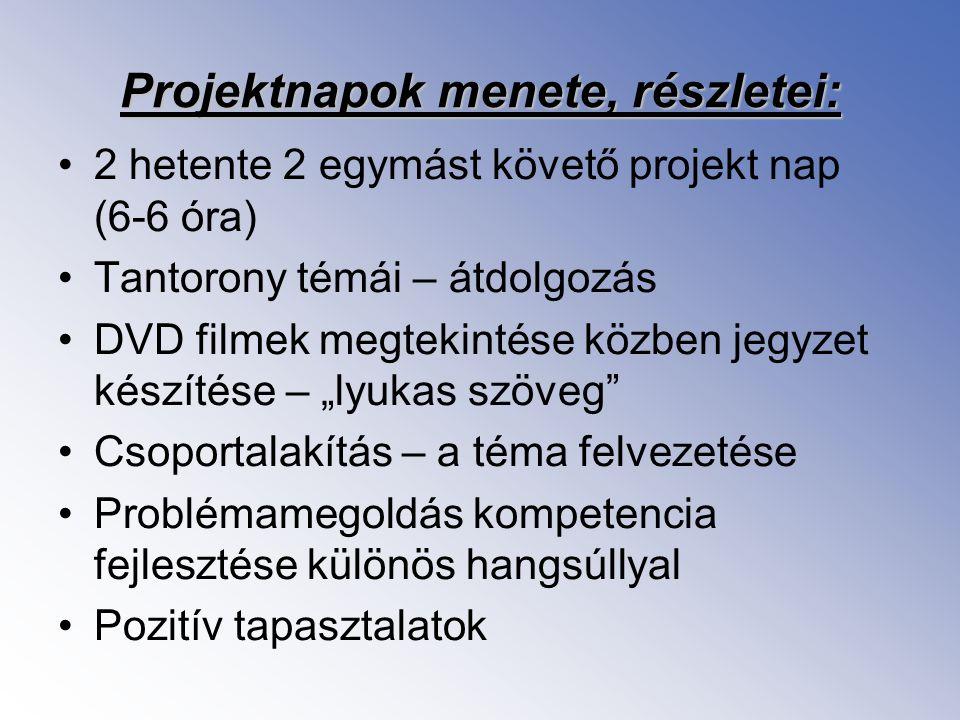 Projektnapok menete, részletei: