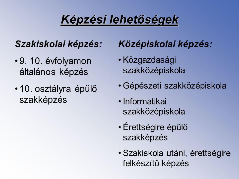 Képzési lehetőségek Szakiskolai képzés: