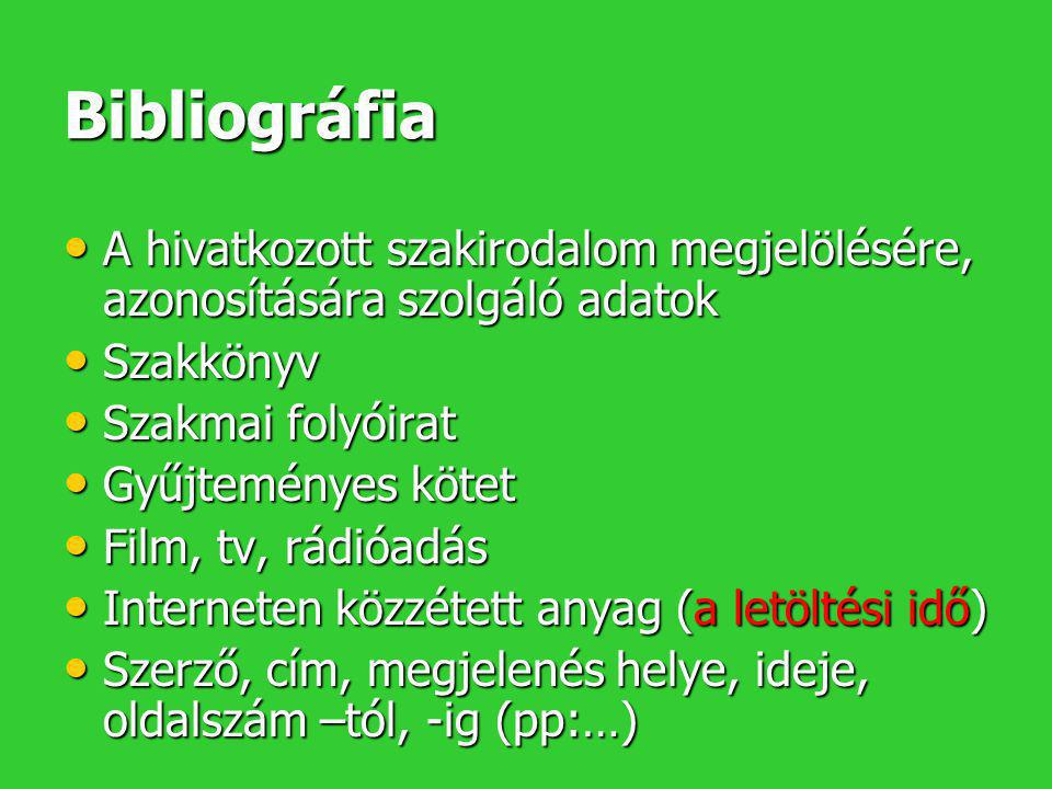Bibliográfia A hivatkozott szakirodalom megjelölésére, azonosítására szolgáló adatok. Szakkönyv. Szakmai folyóirat.