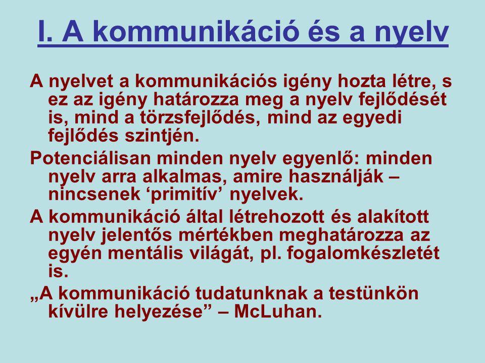 I. A kommunikáció és a nyelv