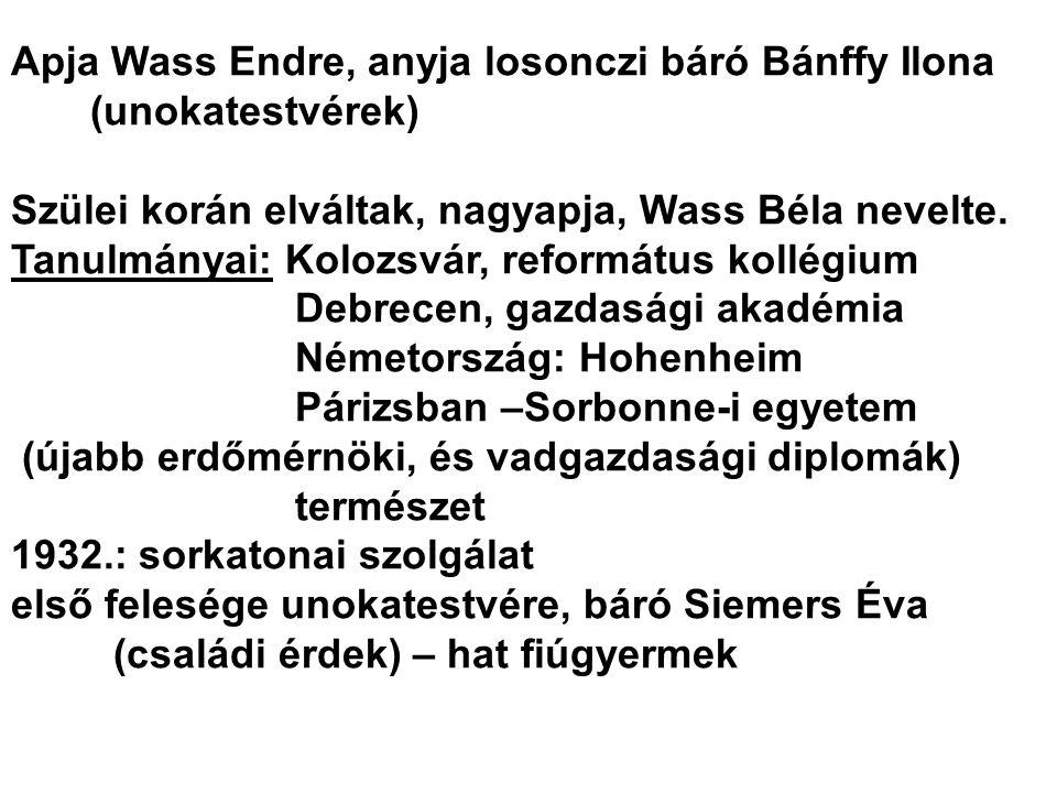 Apja Wass Endre, anyja losonczi báró Bánffy Ilona