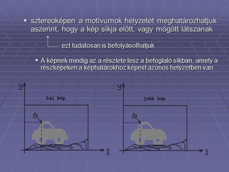 sztereoképen a motívumok helyzetét meghatározhatjuk aszerint, hogy a kép síkja előtt, vagy mögött látszanak