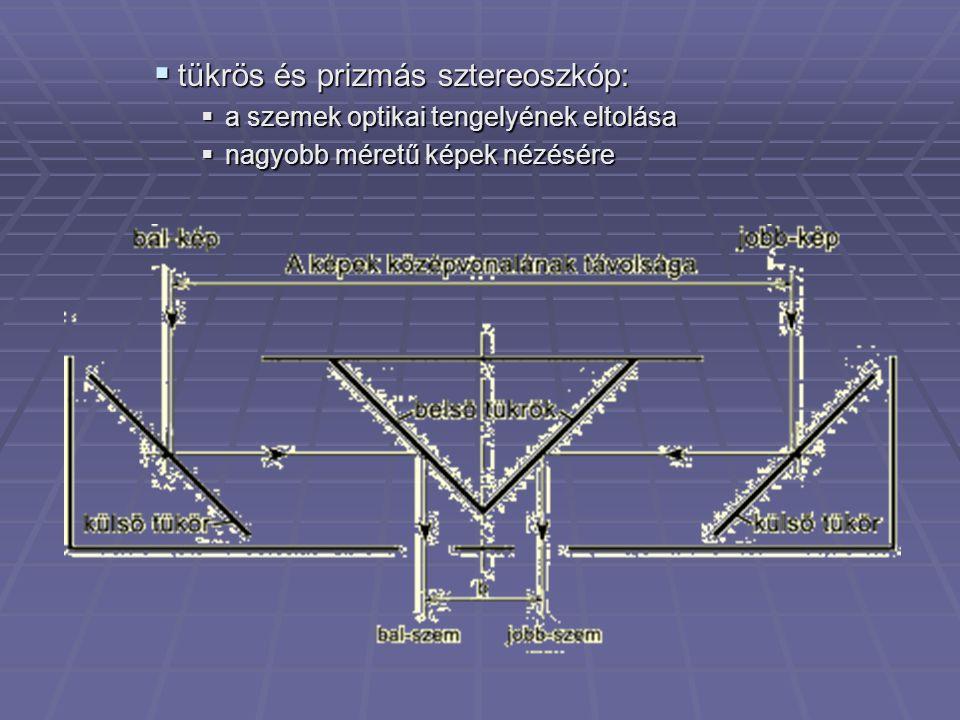 tükrös és prizmás sztereoszkóp: