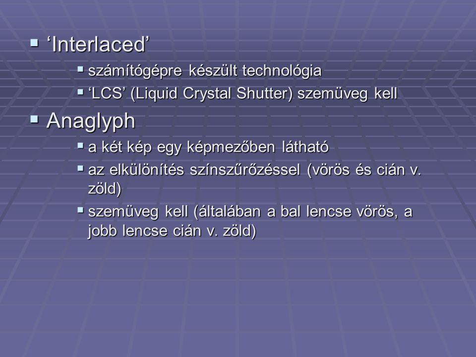 'Interlaced' Anaglyph számítógépre készült technológia