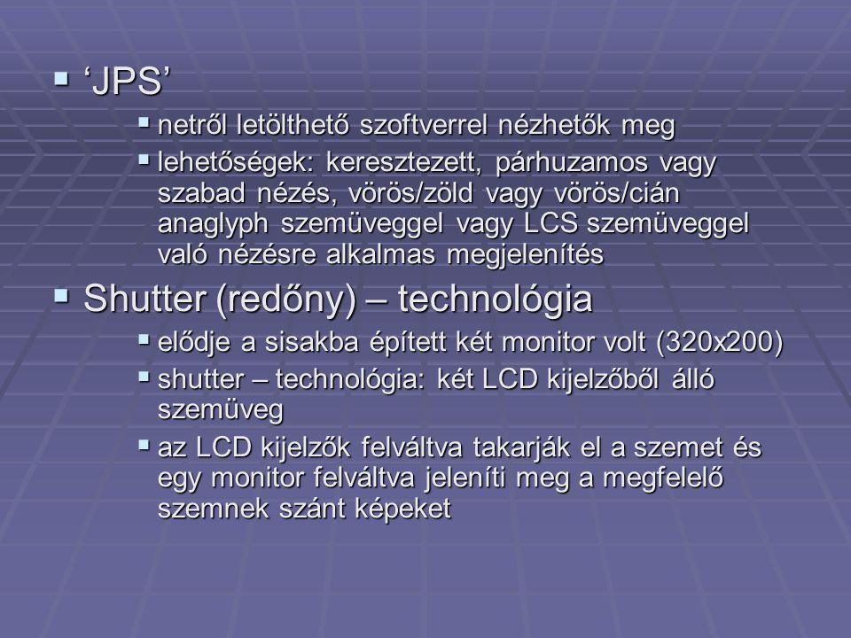 Shutter (redőny) – technológia