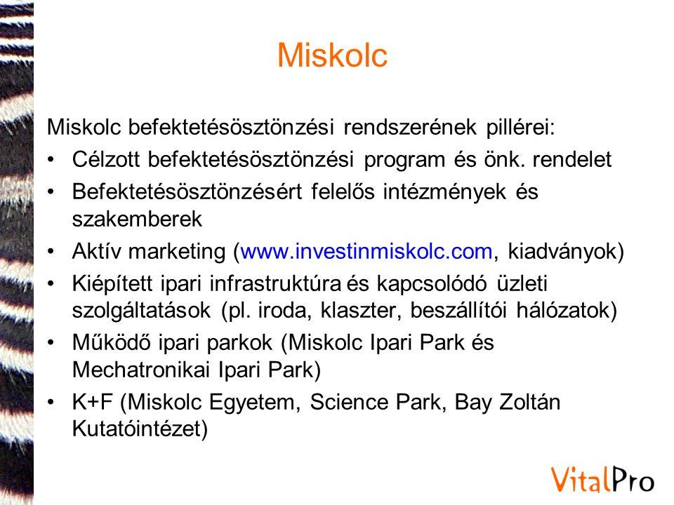 Miskolc Miskolc befektetésösztönzési rendszerének pillérei: